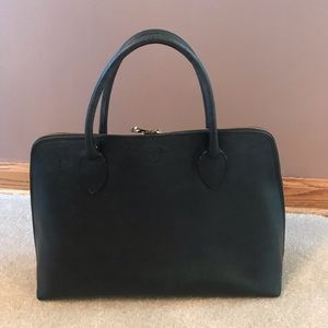 Genuine Black Leather Tote Bag (Made in Italy)